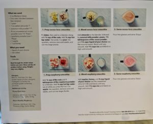 Each smoothie comes with a large recipe card that contains all the instructions and multiple photographs.
