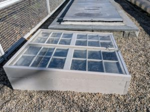 It is perfect for this space next to the already existing cold frame. Here, one can see the slope of the window facing south.