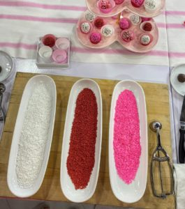 We're using sprinkles in white, red and pink - perfect for Valentine's Day. After making the chocolate truffles, roll them in the sprinkles - one color each, or mix them up. Everyone loves chocolate on Valentine's Day!