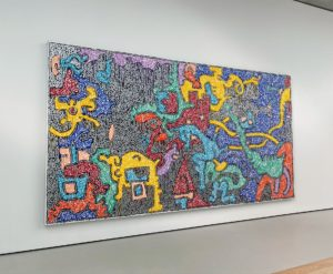 """This """"Untitled"""" (10/22/1988) is by Keith Haring, a well-known artist whose pop art and graffiti-like work grew out of the New York City street culture of the 1980s."""