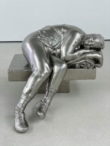"""This is """"Sleeping woman"""" (2012), a piece also by Charles Ray, a Los Angeles-based sculptor known for his strange and enigmatic works that draw on the viewer's perceptual judgments."""
