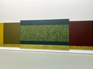 """This is called """"Moss Sutra with the Seasons"""" (2010–2015) by Brice Marden. It measures nine feet by 39-feet."""