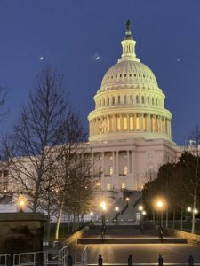 It was a nice evening in Washington, DC when I arrived. Here I am passing the United States Capitol, also known as the Capitol Building, home of the United States Congress and the seat of the legislative branch of the US federal government. The Capitol is just across the street from the Library of Congress.