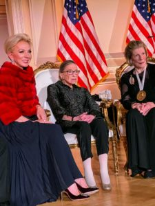 """It was a very special event. Seated here are Julie Opperman, Chairman of the Dwight D. Opperman Foundation, Justice Ruth Bader Ginsberg, and Award recipient, Agnes Gund, president emerita of the Museum of Modern Art and chair of its International Council. In her remarks, Justice Ginsberg said, """"I am especially pleased that the Dwight D. Opperman Foundation established the Justice Ruth Bader Ginsberg Woman of Leadership Award to honor women who have strived to make the world a better place for generations that follow their own, women who exemplify human qualities of empathy and humility, and who care about the dignity and well being of all who dwell on planet earth."""""""