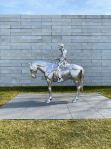 """This is """"Horse and rider"""" (2014) by Charles Ray. This sculpture is located along the main path between the Pavilions and the Cafe."""