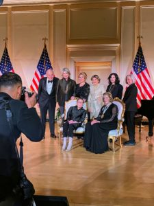 I was part of the nominating committee. Here I am in a group photo after the event with Leonard Lauder, Philanthropist Ghada Irani, Gloria Allred, Sue Kroll, and Harvard Law School Professor, Martha Minow. Justice Ginsberg and Agnes Gund are seated in front.