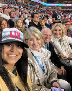 This photo was taken early in the game when the score was 3-0 San Francisco. Here I am with Christine Colaco from Bank of America, and my friends, Jim Dunning and Susan Magrino.