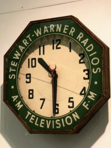 "On the wall is this vintage clock I purchased in the early 1990s. Aside from the name ""Stewart"" on the piece, I thought it was a wonderful item, especially since I recorded many ""Ask Martha"" radio spots for terrestrial radio at that time, and my magazines were originally published by Time Warner."