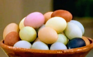 Each of these beautiful eggs was dyed using common ingredients. Experiment with coffee, cabbage, turmeric, beets, blueberries, and so on, and watch your eggs transform.