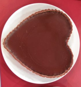 This is how the chocolate heart looks before decoration.