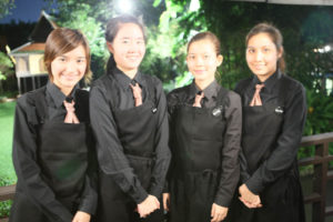 These are some of the young ladies who served dinner - they work at the magazine.
