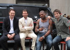 Some of the cast of 'The A-Team'- Liam Neeson, Bradley Cooper, Quinton 'Rampage' Jackson, and Sharlto Copley