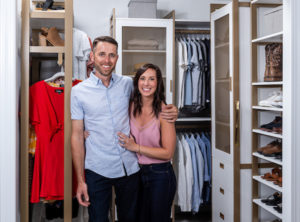 My nephew, Kirk, and his girlfriend, Jen Norman, wanted to create a custom walk-in closet. To make things easy, California Closets now offers virtual design consultations with designers. Kirk and Jen chose the Perry St. White finish with gold hardware combination. (Photo by Andy Frame, andyframe.com)