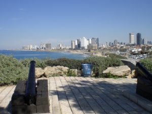 Hundred-year-old Ottoman cannons in Old Jaffa pointed north towards the modern Tel Aviv Beach
