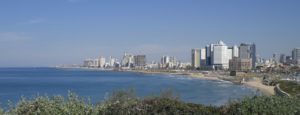 Heading to the coast - this is the skyline of Tel Aviv - it has grown over the years into a booming metropolitan area.