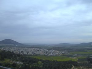 A view of the hills and mountains nearing the town of Nazareth