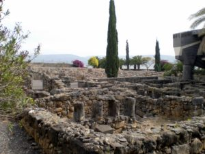 The ruins of the ancient town in Capernaum and the Galilee behind them