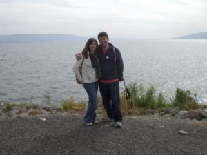 My wife, Katie, and I on the shore of the Galilee, or Kinneret in Hebrew