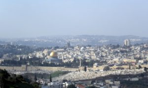 Overlooking the beautiful city of Old Jerusalem - the gold dome is the 'Dome of the Rock.' The city of Jerusalem is important to many major religions.