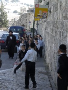 A group of young Orthodox Jewish children