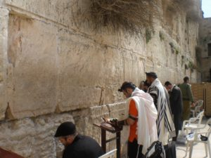 The Western Wall is divded by gender - here men wearing prayer shawls and phylacteries pray on the men's side.