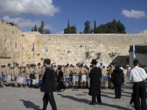 A swearing in ceremony of Israeli troops at the Western Wall - a very meaningful location