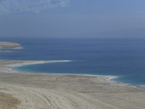 A first look at the Dead Sea, also the lowest point on earth.