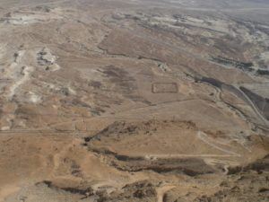 On top of the ancient fortress of Masada, the Jewish Alamo - one can still see the outline of the Roman encampments below. The Romans put them in place to siege Masada.