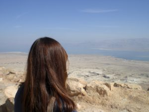 Here is Katie, taking in a fantastic view of the Dead Sea.