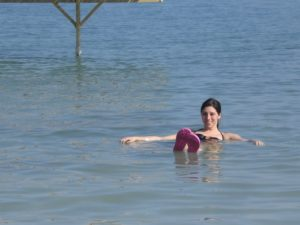 Here is Katie floating in the Dead Sea - because of it's high salt content, there is great buoyancy.  It is called 'Dead' because nothing can live in so much much salt.