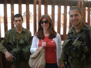 Katie loved getting her picture taken with Israeli soldiers.
