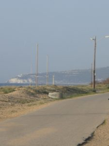 A view towards Rosh Hanikra - a natural wonder of grottos or caves - from the Patrol Path - in the northern town of Nahariya