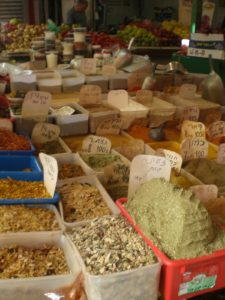 Many herbs and spices - notice the big green mound?  That is Zatar, a very popular herb mix in Israel and throughout much of the Middle East.  It's very good on pizza.