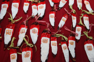 Fran Brescia's red chile peppers Santa ornaments were a HOT item!
