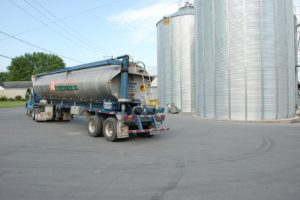 A Nature's Best bulk feed truck for large organic dairy and poultry deliveries