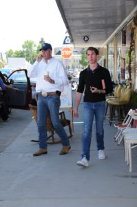 Dan Dienst and Kevin Sharkey - leaving the coffee shop in Dillon
