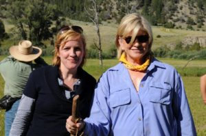 Laurie Hepburn - TV producer and me, ready for the hiking episode