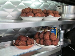 Meatballs, ready to go into the gravy