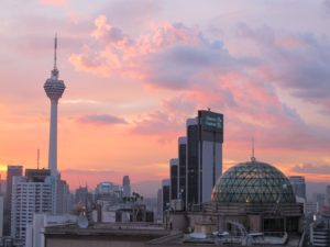 Sunset, as seen from our patio of the Ritz Carlton.  The KL tower is on the left.