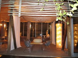 This is a view into the dining room at Singita.