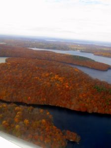 As we took off from Westchester County Airport, the foliage below painted a pretty picture.