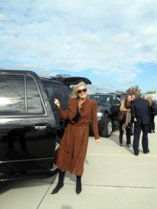 Two vehicles greeted us on the tarmac - Susan Magrino, my publicist, is signaling for everyone to get moving.