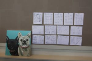 Another scene took place in the blog studio.  The studio was also used as a makeshift war room and the producers had their story boards tacked to the forbo wall.
