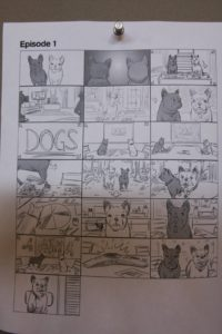 A closer look at one of the story boards.  F & S must have studied each one.