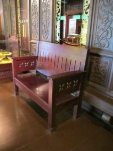 These benches, very Stickley-like, provide seating in the museum.