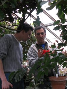 Shaun and Byron observing the beautiful flowers of Passiflora miniata