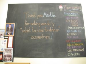 In the back room of the store, the Williams - Sonoma employees left me a message on their blackboard.
