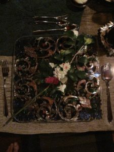 Each place setting was adorned with a flower 'squirrrel' on the place mat.