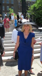 Susan Magrino, my publicist, wore her large black straw hat and a very ladylike blue dress - she looked great!