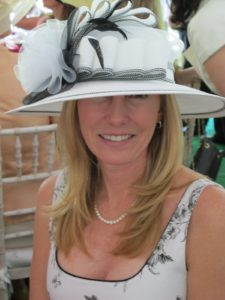 Bryn Rose works closely with Jane in the private bank of Band of America.  She wore a summer frock and a black and white hat.